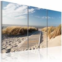 Schilderij - Uitzicht op Noordzee, Blauw/Beige, 3luik