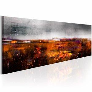 Schilderij - Herfst Veld, Oranje/Grijs, 1luik