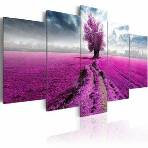 Schilderij - Paars Veld, 5luik ,  wanddecoratie , premium print op canvas