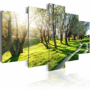 Schilderij - Boomgaard, Groen, 5luik
