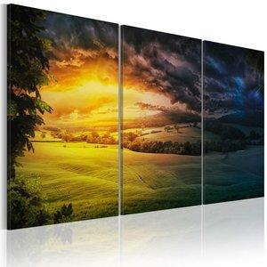 Schilderij - Land van de Rijzende Zon, Geel/Groen, 3luik