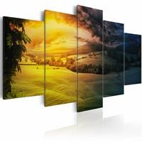 Schilderij - Tussen Dag en Nacht, 5luik ,  wanddecoratie , premium print op canvas