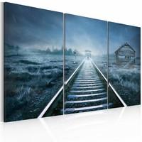 Schilderij - Reis in de Mist, Blauw, 3luik ,  wanddecoratie , premium print op canvas
