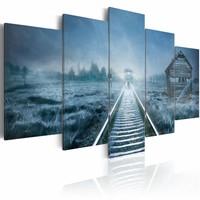 Schilderij - Reis in de Mist II, Blauw, 5luik ,  wanddecoratie , premium print op canvas