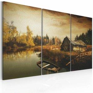 Schilderij - Verlaten Hut ll, Bruin, 3luik