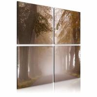 Schilderij - Mistig,  4luik ,  wanddecoratie , premium print op canvas