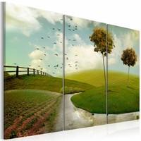 Schilderij Idyllisch Landschap, groen/blauw, 3luik, 2 maten