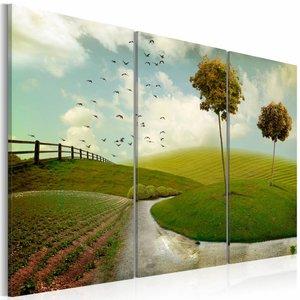 Schilderij - Idyllisch Landschap, Groen/Blauw, 3luik