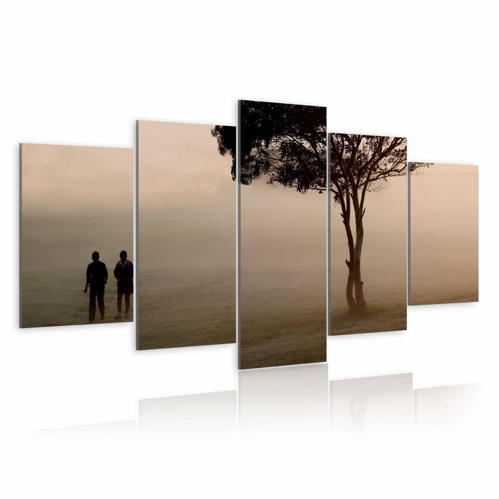 Schilderij - Wandeling in de Nevel, 5luik , wanddecoratie , premium print op canvas