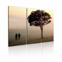 Schilderij - Ochtendwandeling, 3luik ,  wanddecoratie , premium print op canvas