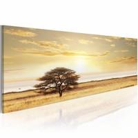 Schilderij - Eenzame Boom, Geel , wanddecoratie , premium print op canvas