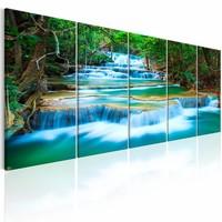 Schilderij - Saffieren Waterval , blauw groen , 5 luik