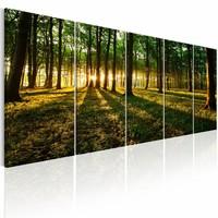 Canvas Schilderij - Schaduw van de Bomen , groen bruin , 5 luik , 2 maten