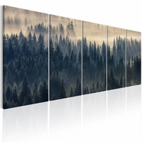 Schilderij - Bomen in de mist , beige blauw , 5 luik