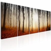 Schilderij - Ochtend Mist , boom , oranje bruin , 5 luik