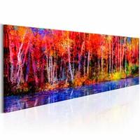 Schilderij - Kleurrijke Herfst Bomen  , rood blauw , 1 luik