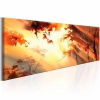 Schilderij - Gouden bos , oranje