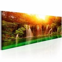 Canvas Schilderij - Magische Waterval 150X50 , oranje groen , 1 luik