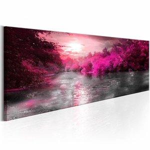 Schilderij - Roze zonsondergang 150X50 , boom , grijs , 1 luik