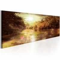 Canvas Schilderij - Mysterieuze zonsondergang 150X50 , beige bruin , boom , 1 luik