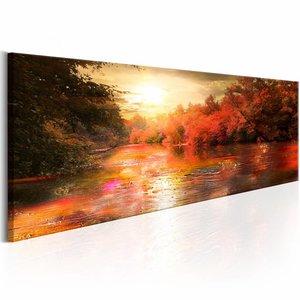 Canvas Schilderij - Zonsondergang in de Herfst 150X50 , oranje , 1 luik