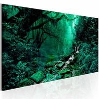 Canvas Schilderij - Betoverend bos150X50 , groen , bos beek , 1 luik