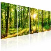 Canvas Schilderij - Magisch woud , geel groen , 5 luik , 2 maten , boom