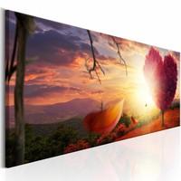 Canvas Schilderij - Hart van de Herfst , oranje bruin , 1 luik , 3 maten