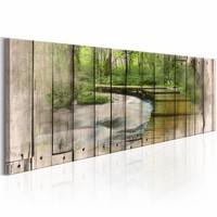 Schilderij -  Rivier van herinneringen  , groen bruin , hout look