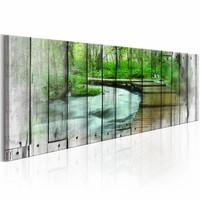Canvas Schilderij - Pad langs herinneringen 150X50  , groen , bos , hout look