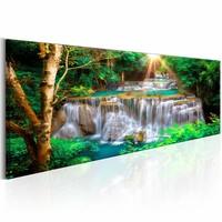 Schilderij - Tropische waterval 150X50 , wit grown , 1 luik