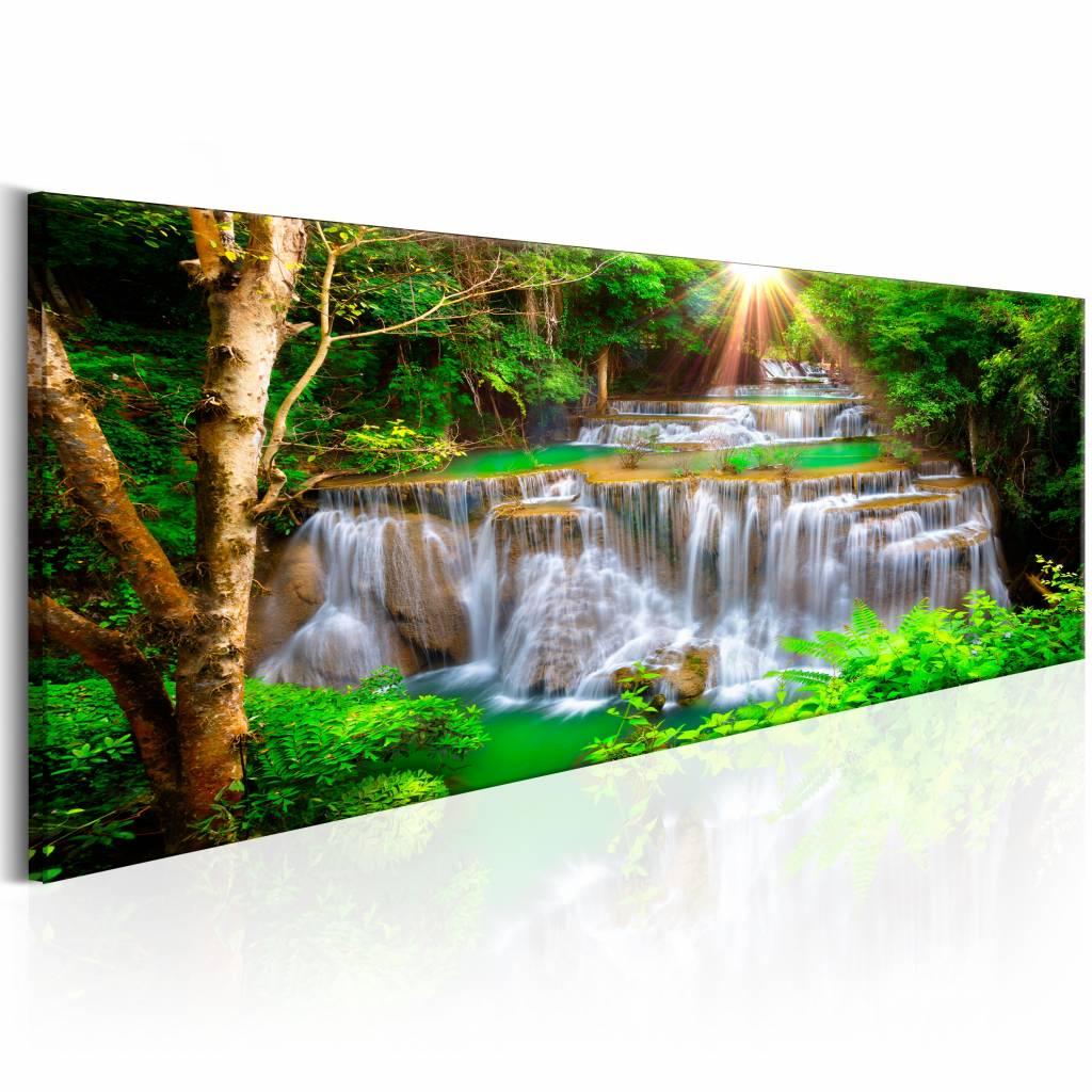 Schilderij - Waterval - Panorama, groen/bruin, premium print op canvas, 1 deel