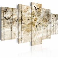 Schilderij - Bos van Papier, Beige, 5luik