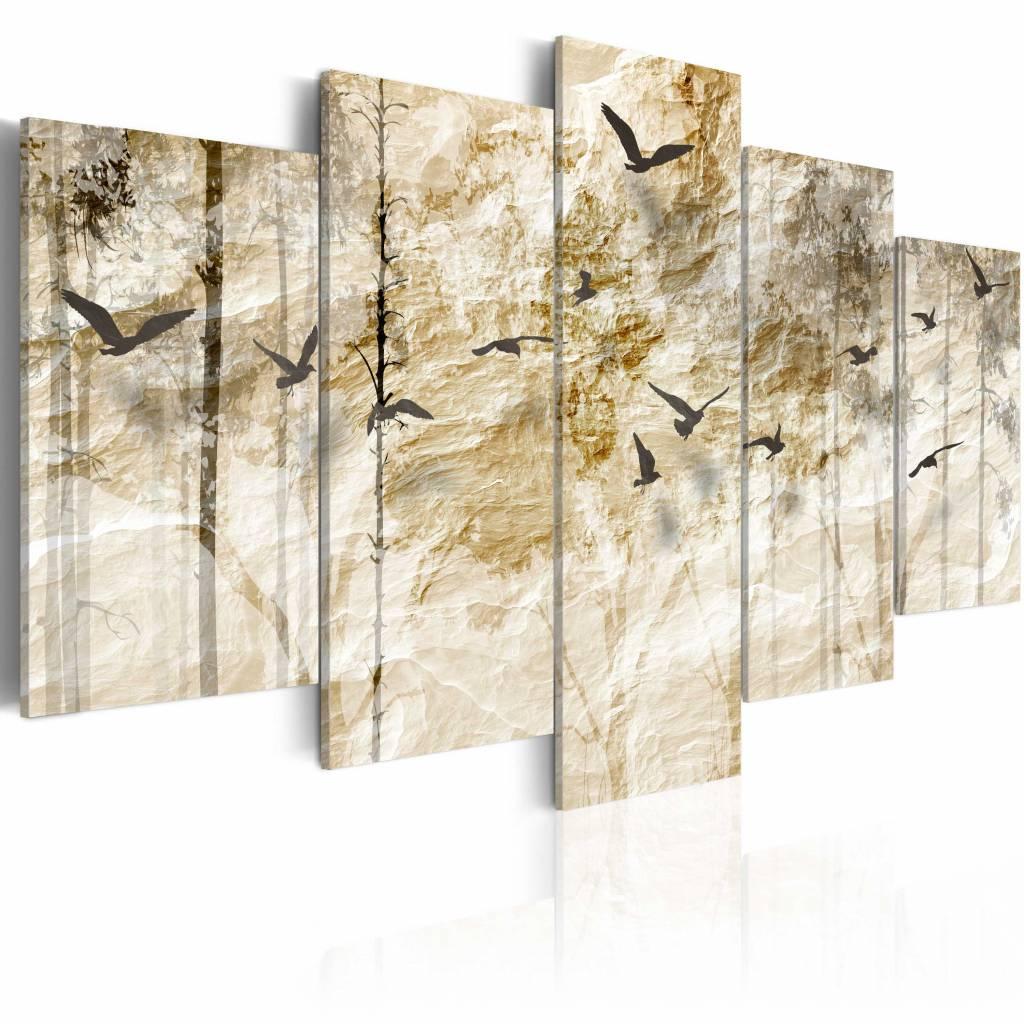 Schilderij - Bos van Papier, 5luik