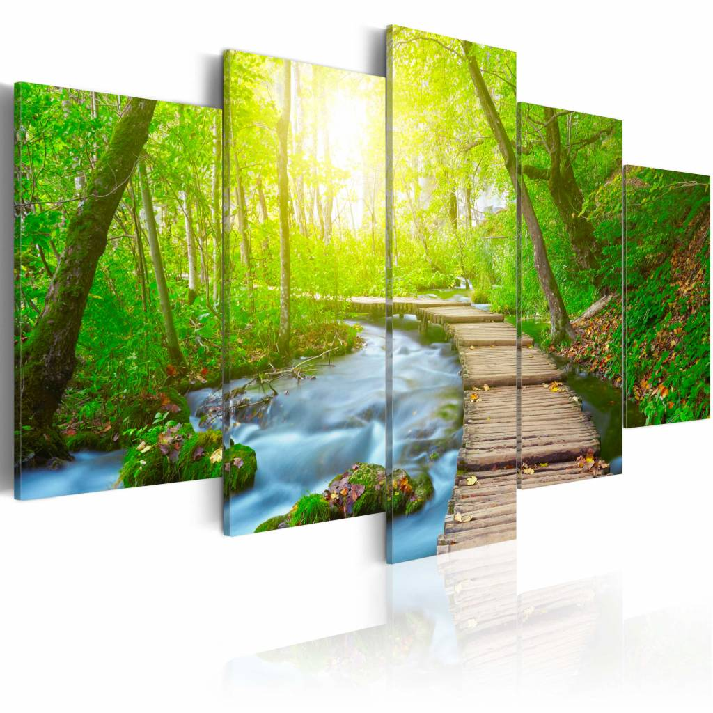Schilderij - Pad door het Bos, Groen/Blauw/Bruin, 5luik , premium print op canvas