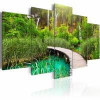 Schilderij - Pad door het bos II, groen/bruin, 5luik , premium print op canvas