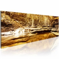Schilderij - Vintage bos 150X50cm , beige bruin , 1 luik