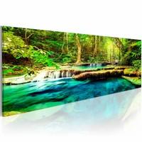 Schilderij - Juweel van de natuur 150X50 , water bomen ,groen blauw , 1 luik