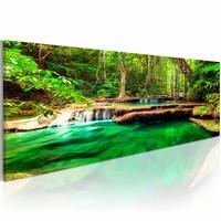 Schilderij - Groene Waterval,  1 deel