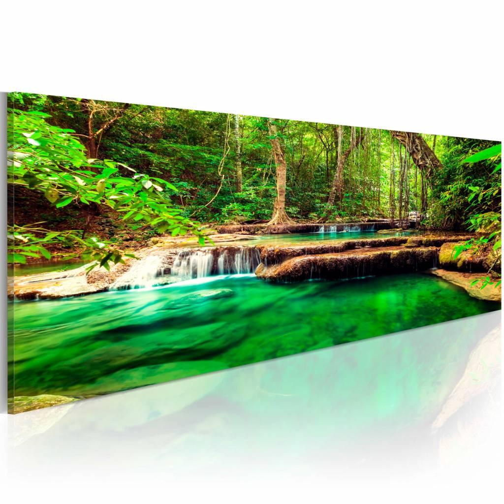 Schilderij - Groene Waterval, 1 deel , bruin , premium print op canvas