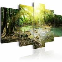 Schilderij - Rivier door het bos, 5luik, groen/bruin , premium print op canvas