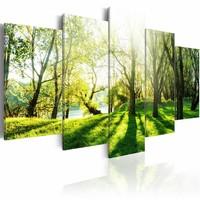 Schilderij - Door de Bomen, Groen, 5luik , premium print op canvas