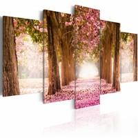 Schilderij - Bos in het Roze,  5luik , bruin , premium print op canvas