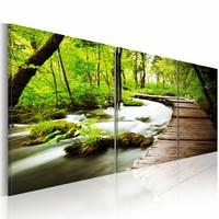 Schilderij - Pad door het Bos,  3luik  , groen bruin , premium print op canvas