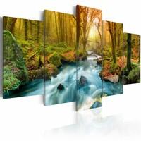 Schilderij - Ochtend aan de Rivier, 5luik , bruin groen blauw , premium print op canvas