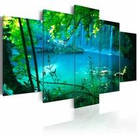 Schilderij - Afzondering in Turquoise - Bos,  5luik , groen blauw , premium print op canvas