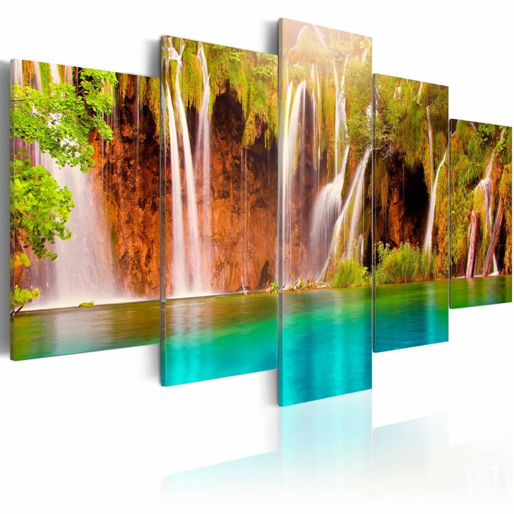 Schilderij - Prachtige Waterval, Groen/Blauw/Bruin, 5luik , premium print op canvas