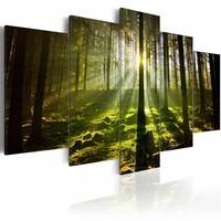 Schilderij - Stilte van het Voorjaar, Groen, 5luik , premium print op canvas