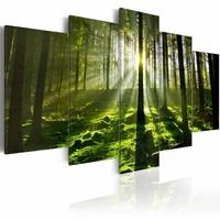 Schilderij - Peace of Mind - Bos, Groen, 5luik , premium print op canvas