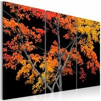 Schilderij Reflectie van de herfst, rood/geel, 3 luik, 2 maten